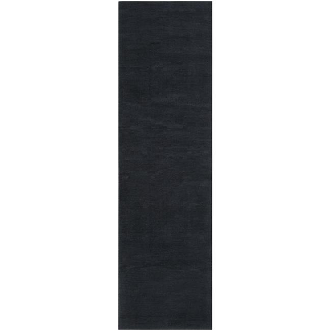 Hand-crafted Navy Blue Solid Causal 'Ridges' Dark Wool Rug (2'6 x 8')