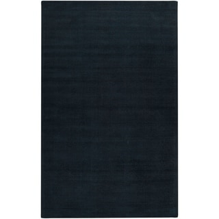"Hand-crafted Navy Blue Solid Causal 'Ridges' Wool Area Rug - 7'6"" x 9'6""/Surplus"