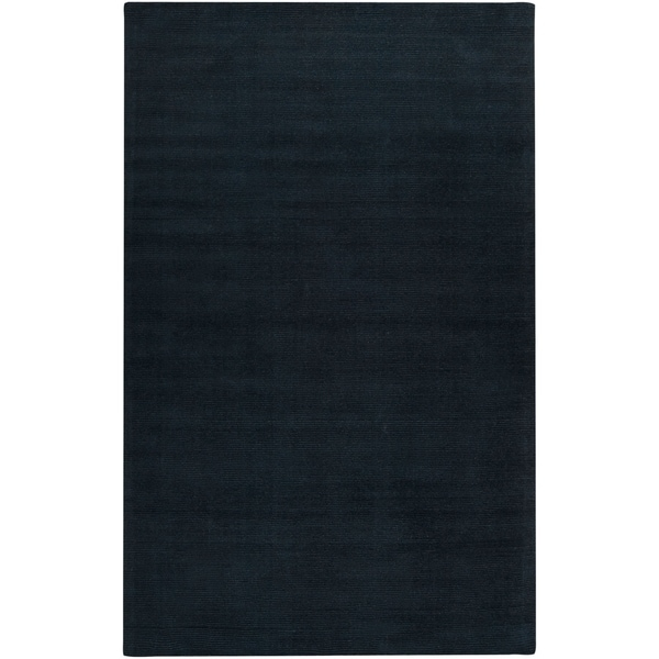 Hand-crafted Navy Blue Solid Causal 'Ridges' Wool Area Rug - 7'6 x 9'6