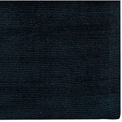 Hand-crafted Navy Blue Solid Causal 'Ridges' Wool Rug (7'6 x 9'6) - Thumbnail 1