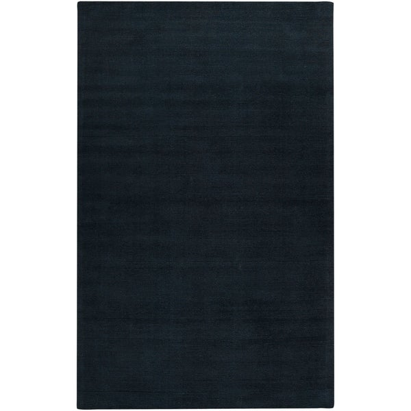 Hand-crafted Navy Blue Solid Causal 'Ridges' Wool Area Rug - 9' x 13'