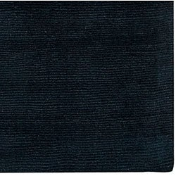Hand-crafted Navy Blue Solid Causal 'Ridges' Wool Rug (9' x 13') - Thumbnail 1