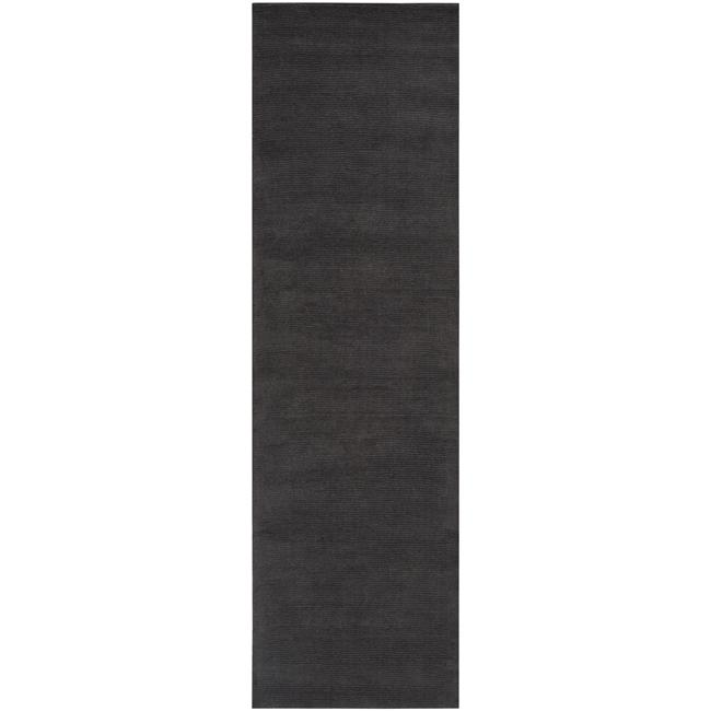 Hand-crafted Solid Black Casual 'Ridges' Wool Rug (2'6 x 8')