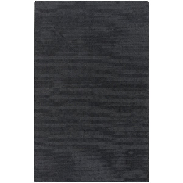 Hand-crafted Solid Black Casual 'Ridges' Wool Area Rug - 6' x 9'