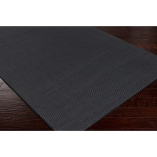 Hand-crafted Solid Grey Casual 'Ridges' Wool Area Rug - 9' x 13'/Surplus