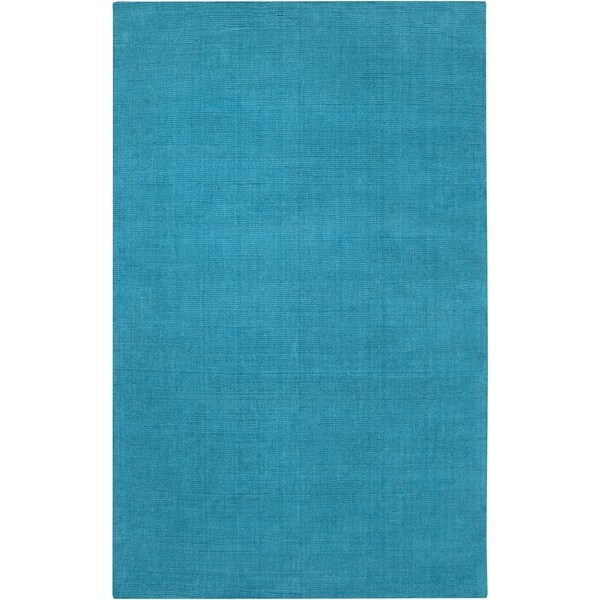 Hand-crafted Teal Blue Solid Casual 'Ridges' Wool Area Rug - 6' x 9'