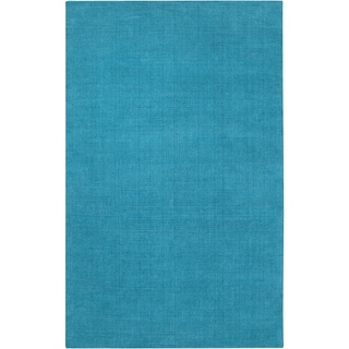 Hand-crafted Teal Blue Solid Casual 'Ridges' Wool Area Rug - 6' x 9'/Surplus
