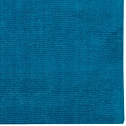 Hand Crafted Teal Blue Solid Casual Ridges Wool Rug 6