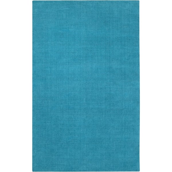 Hand-crafted Teal Blue Solid Casual 'Ridges' Wool Area Rug - 7'6 x 9'6