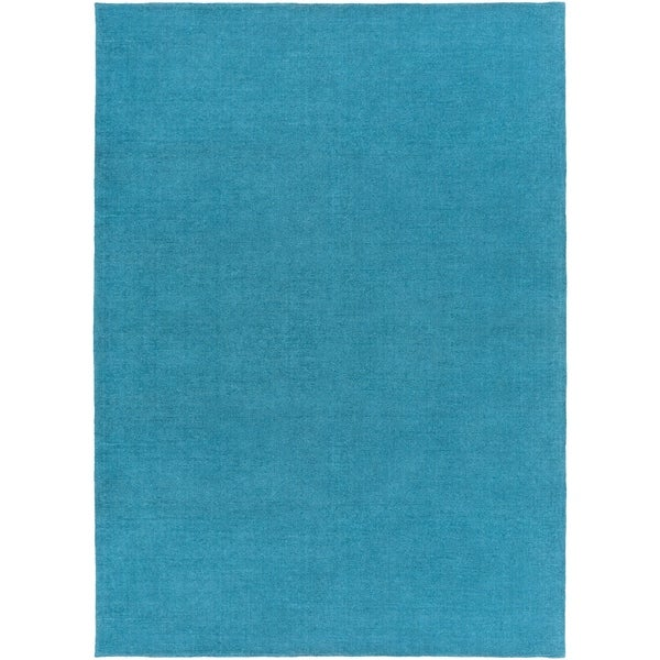 Shop Hand Crafted Teal Blue Solid Casual Ridges Wool