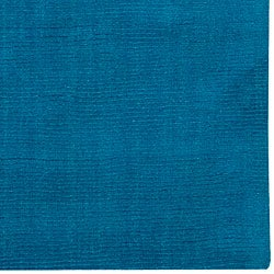 Hand-crafted Teal Blue Solid Casual 'Ridges' Wool Rug (8' x 11')