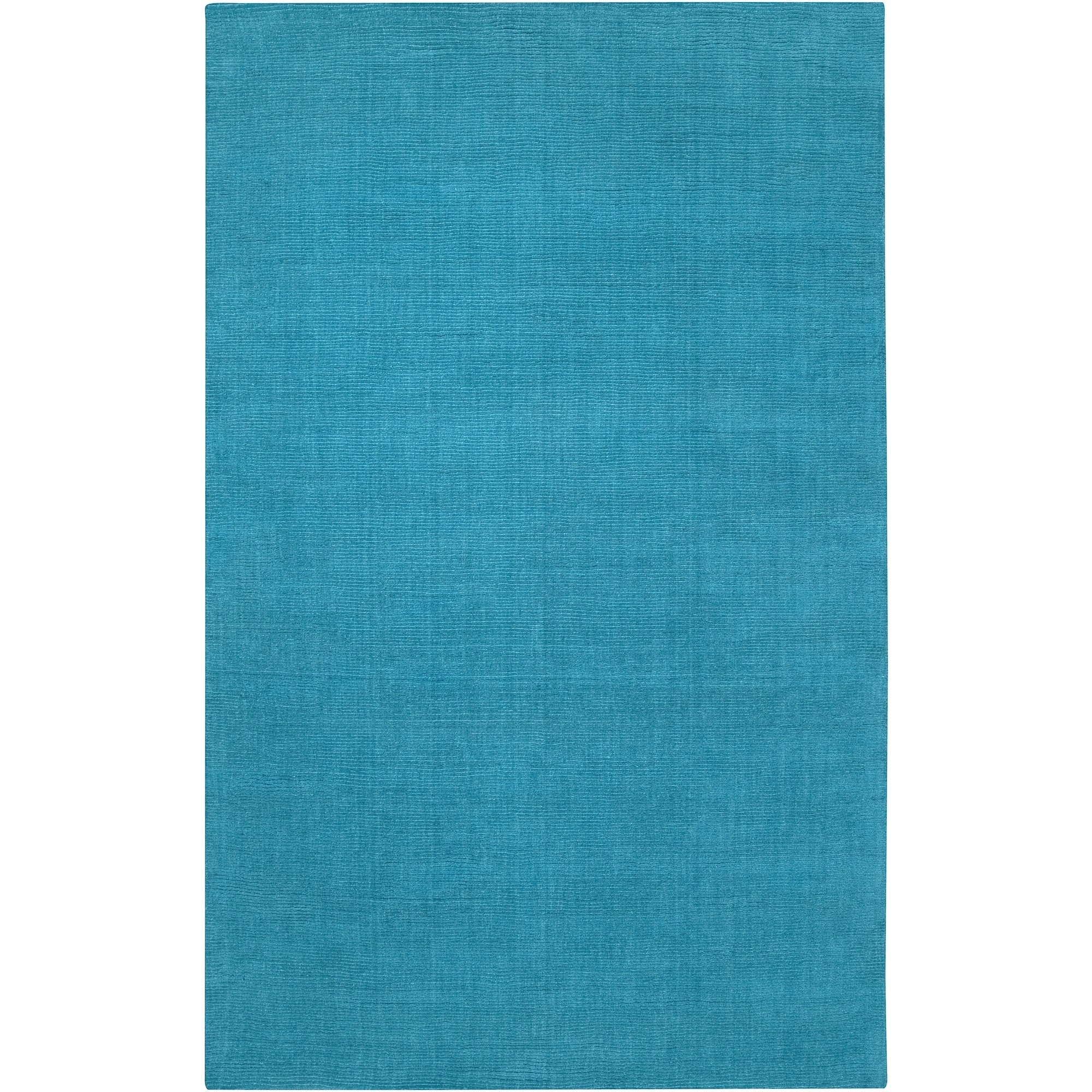 Shop Hand Crafted Teal Blue Solid Casual Ridges Wool Area Rug