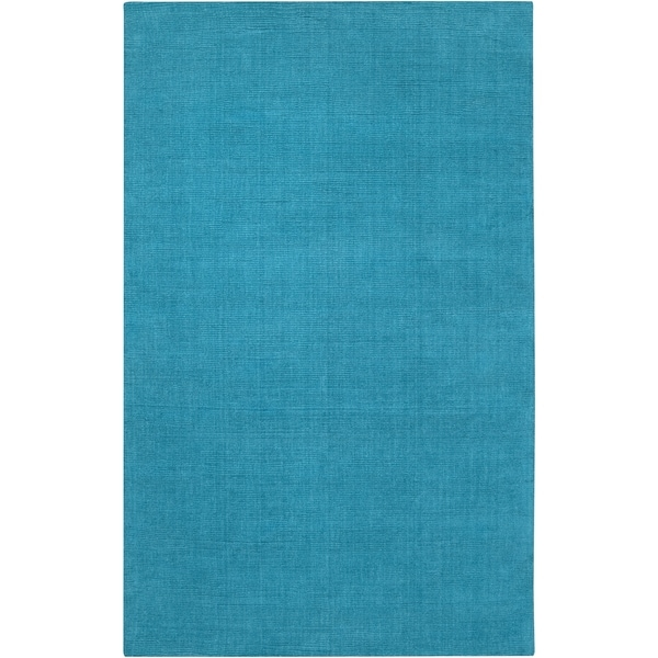 Hand-crafted Teal Blue Solid Casual 'Ridges' Wool Area Rug - 9' x 13'