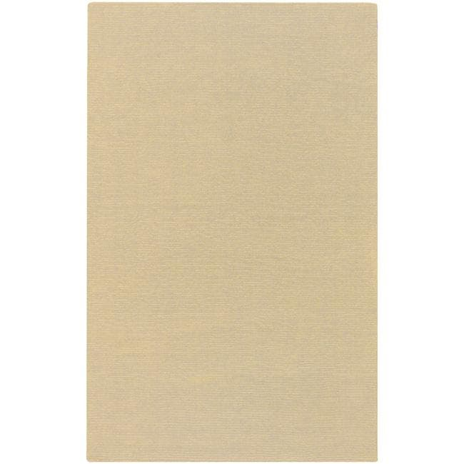 Hand-crafted Light Yellow Solid Causal Ridges Wool Rug (8' x 11')
