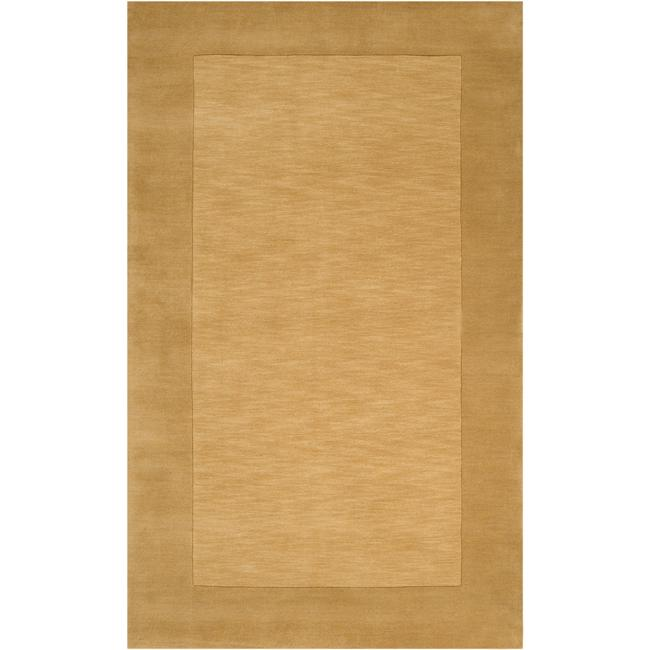 Hand-crafted Gold Tone-On-Tone Bordered Wool Rug (6' x 9')