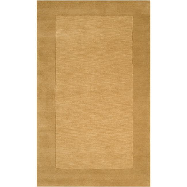 Hand-crafted Gold Tone-On-Tone Bordered Wool Rug (7'6 x 9'6)