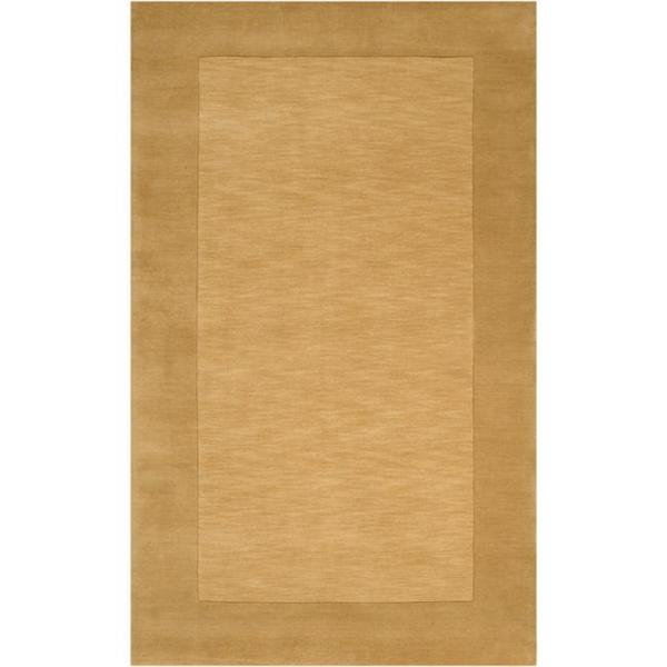 Hand-crafted Gold Tone-On-Tone Bordered Wool Rug (8' x 11')