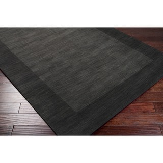 Hand-crafted Black Tone-On-Tone Bordered Wool Rug (3'3 x 5'3)