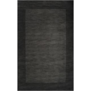 "Hand-crafted Black Tone-On-Tone Bordered Wool Area Rug - 7'6"" x 9'6""/Surplus"