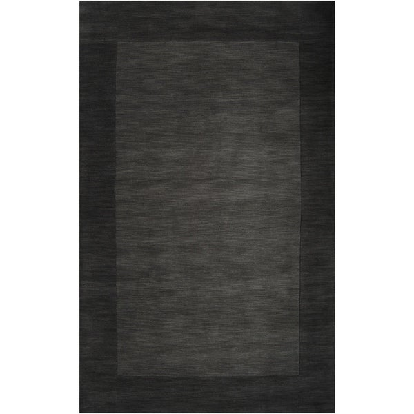 Hand-crafted Black Tone-On-Tone Bordered Wool Area Rug - 8' x 11'