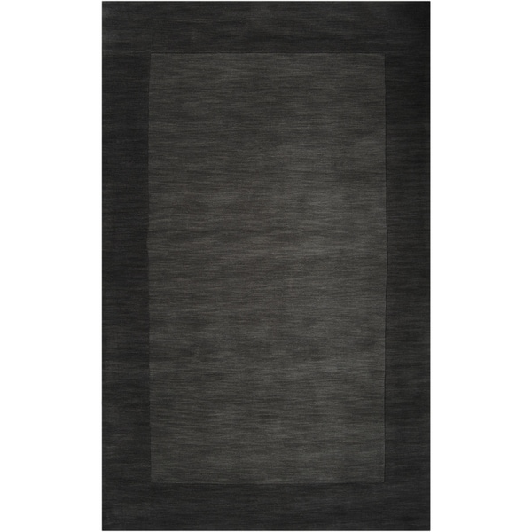 Hand-crafted Black Tone-On-Tone Bordered Wool Area Rug - 9' x 13'