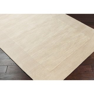 """Hand-crafted White Tone-On-Tone Bordered Wool Area Rug - 2'6"""" x 8' Runner/Surplus"""