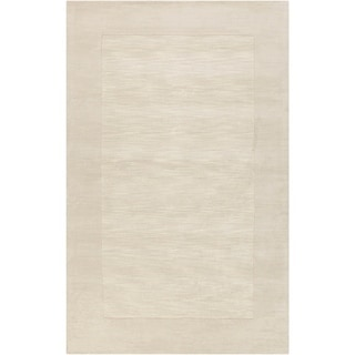 Hand-crafted White Tone-On-Tone Bordered Wool Area Rug - 5' x 8'/Surplus