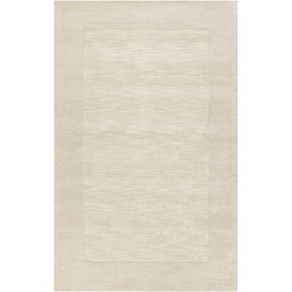 Hand-crafted White Tone-On-Tone Bordered Wool Area Rug - 7'6 x 9'6