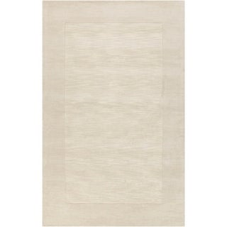 """Hand-crafted White Tone-On-Tone Bordered Wool Area Rug - 7'6"""" x 9'6""""/Surplus"""