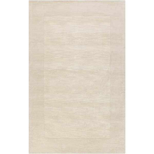 Hand-crafted White Tone-On-Tone Bordered Wool Area Rug - 8' x 11'