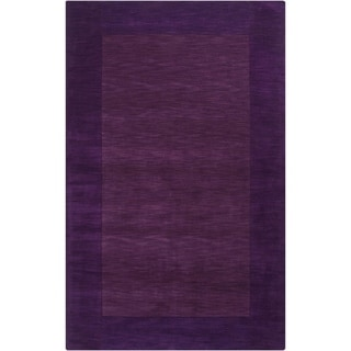 Hand-crafted Purple Tone-On-Tone Bordered Wool Rug (5' x 8')