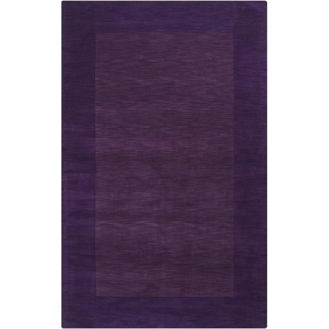Hand-crafted Purple Tone-On-Tone Bordered Wool Rug (6' x 9')