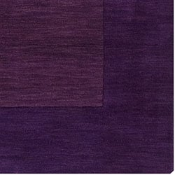 Hand-crafted Purple Tone-On-Tone Bordered Wool Rug (6' x 9') - Thumbnail 1