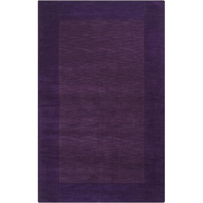 Hand-crafted Purple Tone-On-Tone Bordered Wool Rug (7'6 x 9'6)