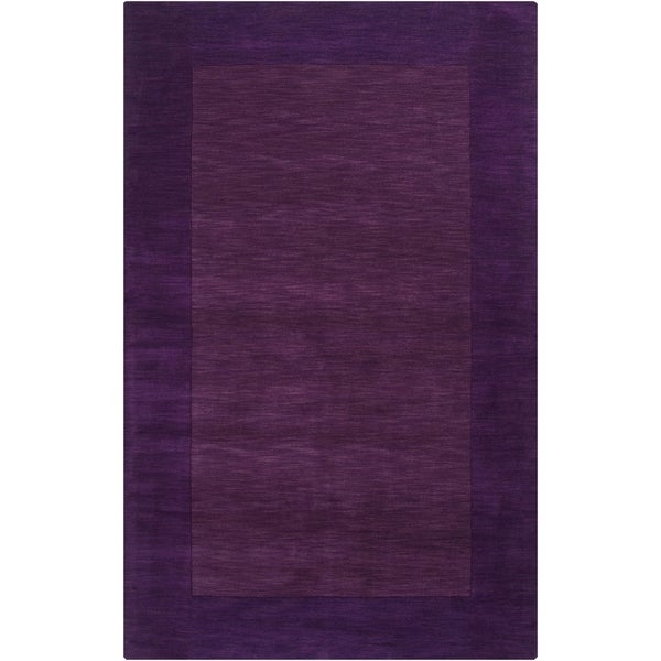 Hand-crafted Purple Tone-On-Tone Bordered Wool Area Rug - 7'6 x 9'6