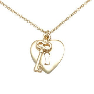 Goldtone Heart Lock-and-Key 'Love' Charm Necklace with Spring-Ring Clasp