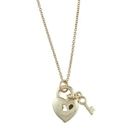 Goldtone Heart Lock and Key 'Love' Charm Necklace