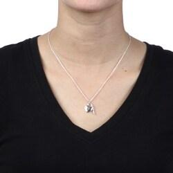 Silvertone Heart Lock and Key 'Love' Charm Necklace - Thumbnail 2