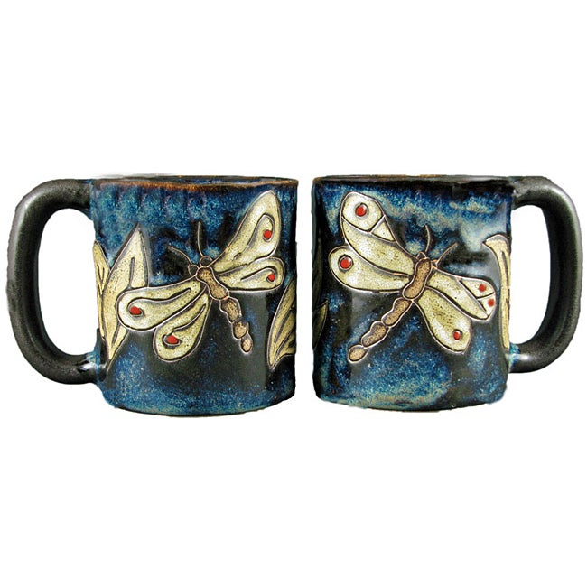 Set of 2 Mara Stoneware 16-oz Dragonfly Mugs (Mexico) - Thumbnail 0