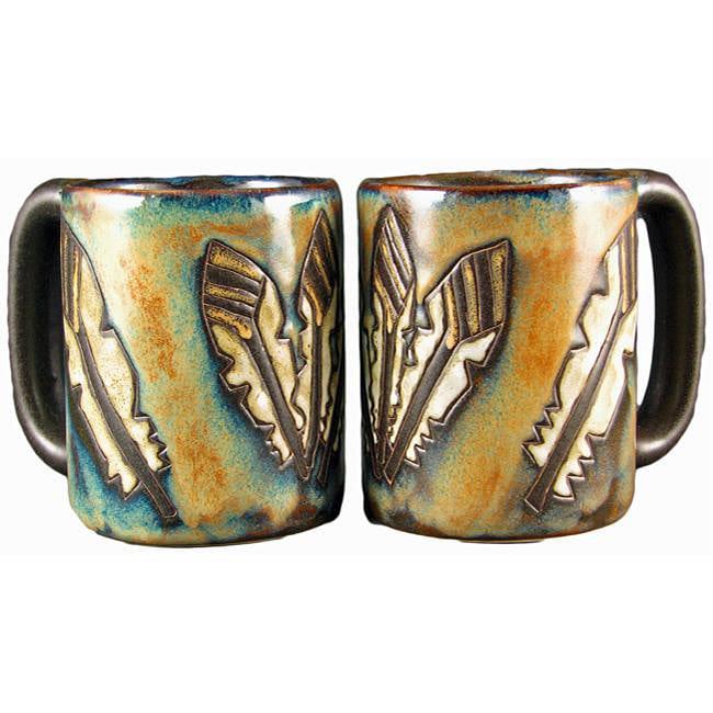 Set of 2 Mara Stoneware Turquoise 16-oz Desert Mugs (Mexico)