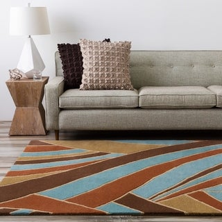 Hand-tufted Contemporary Blue Striped Mayflower Sky Wool Area Rug - 4' Square