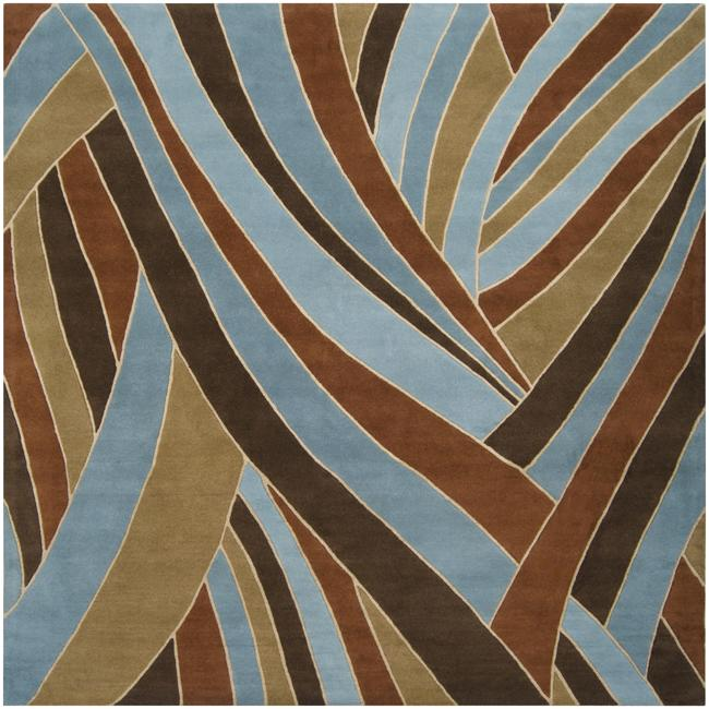 Artistic Hand-tufted Contemporary Blue Striped Mayflower ...