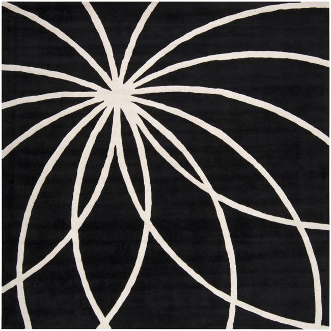 Hand-tufted Contemporary Black/White Mayflower Wool Abstract Rug (4' Square)