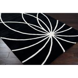 Hand-tufted Contemporary Black/White Mayflower Wool Abstract Rug (4' Square) - Thumbnail 1