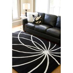 Hand-tufted Contemporary Black/White Mayflower Wool Abstract Rug (4' Square) - Thumbnail 2