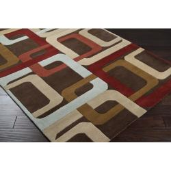 Hand-tufted Brown Contemporary Multi Colored Square Mayflower Wool Geometric Rug (4' Round) - Thumbnail 1