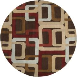 Hand-tufted Brown Contemporary Multi Colored Square Mayflower Wool Geometric Rug (4' Round) - Thumbnail 2