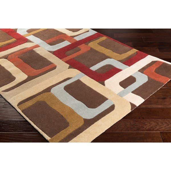 Hand Tufted Brown Contemporary Multi Colored Square Mayflower Wool Geometric Area Rug 8 Round 8 Round On Sale Overstock 5654232