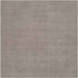 Hand-crafted Solid Grey Casual Ridges Wool Rug (8' Square)