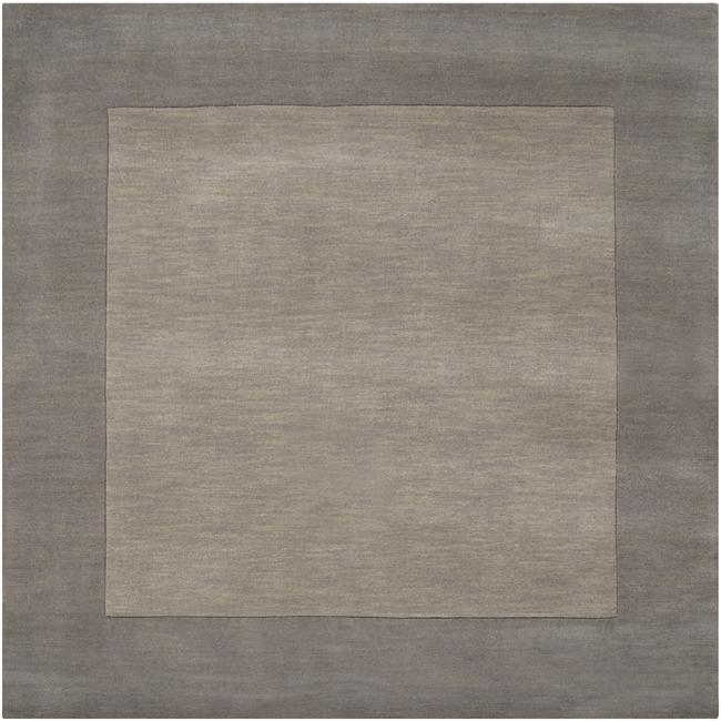 Hand-crafted Grey Tone-On-Tone Bordered Wool Rug (9'9 Square)